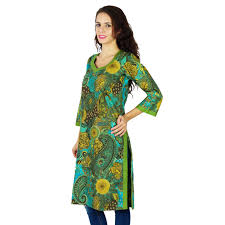 cotton indian printed ethnic top bollywood kurta kurti women tunic