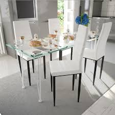 table cuisine verre trempé ensemble 1 table en verre trempé 4pcs chaises moderne en cuir