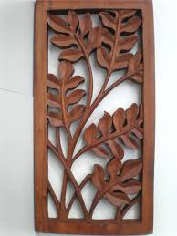 Wood Wall Art Carvings Large Carved Panel Teak White Bali Leaf Hanging Relief Carving L