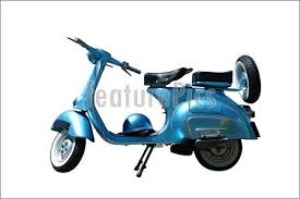 Vintage Blue Vespa Scooter Path Is Included On File