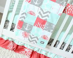 Coral And Mint Baby Bedding by Custom Crib Bedding By Giggle Six Baby By Gigglesixbaby On Etsy