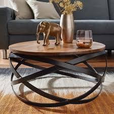 couchtisch manur 60x30x60 cm sheesham massivholz metall sofatisch design wohnzimmertisch rund stubentisch industrial braun designer holztisch