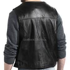 men black button lambskin leather vest