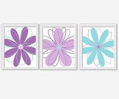 Modern Floral Wall Art Purple Teal Aqua Lavender Girl Bedroom Decor Flower Prints Baby