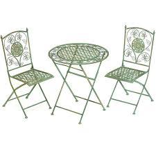 tables deux chaises en fer forgé vert cambridge meuble de style