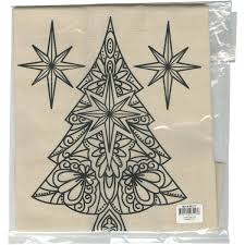 Stamped Canvas Tote To Color Christmas Tree