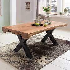 finebuy esszimmertisch akazie landhaus stil voll holz design esstisch rechteckig tisch für esszimmer baumstamm küchentisch 6 8 personen