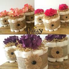 Set Of 3 Shabby Chic Diaper Cakes Mini Burlap
