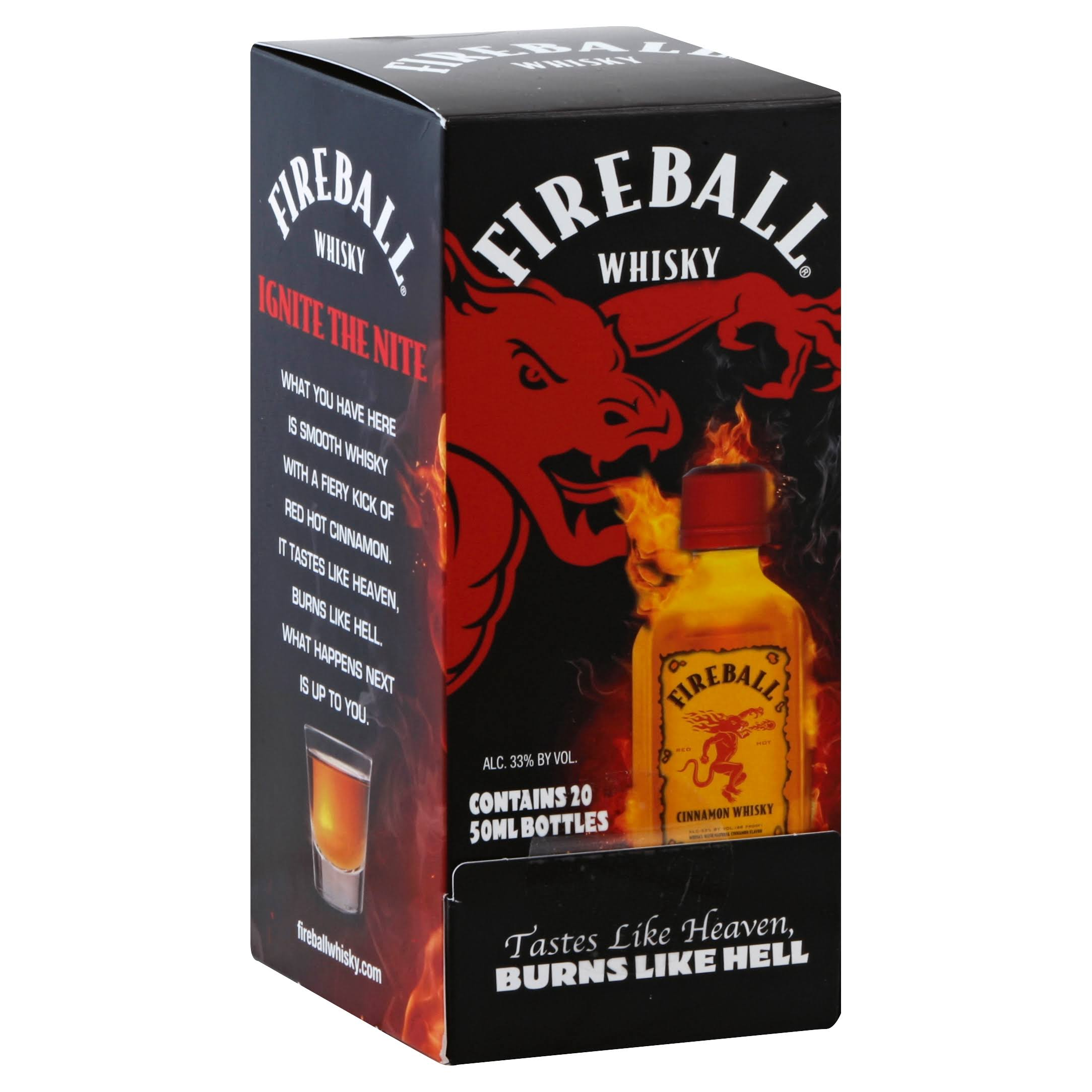 Fireball Whisky, Cinnamon - 20 pack, 50 ml bottles