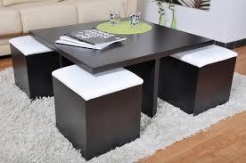 table basse carré wengé et 4 poufs decoration
