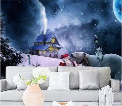 großhandel benutzerdefinierte größe 3d tapete fototapete wohnzimmer wandbild weihnachten märchen ölgemälde sofa tv hintergrundbild vlies aufkleber