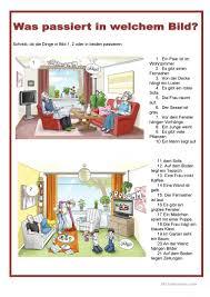 bildbeschreibung im wohnzimmer daf arbeitsblatter