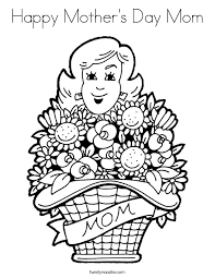 Happy Mothers Day Mom Coloring Page