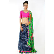 Blue Cotton Gamthi Printed Chaniya Choli Ethnic Dressing