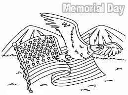 Memorial Day United State Flag On Coloring Page