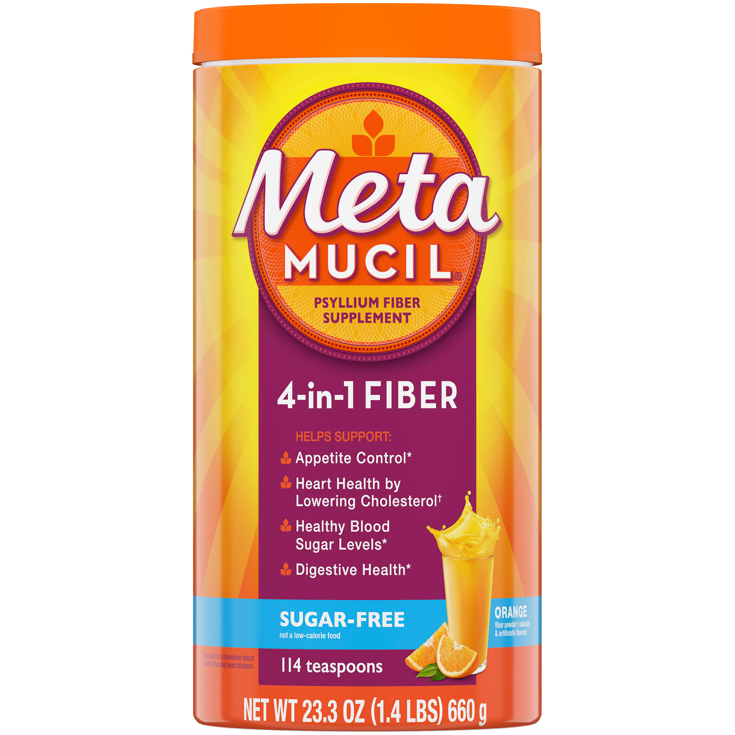 Metamucil 4 in 1 Multi Health Fiber Sugar-Free Fiber Powder - Orange Smooth, 23.3oz