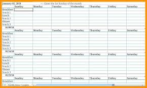Weekly Meal Planner Template Excel Plan Dinner Free Software