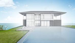 100 Modern Beach Home Sketch Design Of House And Pool 3d Rendering Stock
