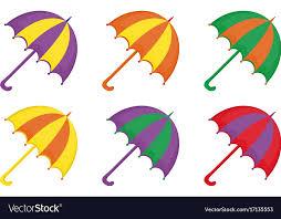 Umbrellas Icon Set Flat Or Cartoon Style Beach Vector Image