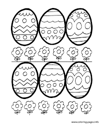 6 Easter Eggs And Flowers Coloring Pages