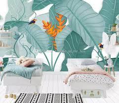 großhandel benutzerdefinierte größe bananenbaum tapete 3d stereo grüne blätter wälder fresko wohnzimmer studie restaurant hintergrund wandmalerei
