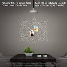 ecooe photo hanger wall decoration collage diy picture frame size s fishing net with 40 wooden and 10 traceless nails 60 x 60 cm when fully