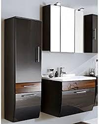 badmöbel set 3 teilig hochglanz anthrazit walnuss badezimmer komplettset spiegelschrank mit led beleuchtung waschtisch mit unterschrank