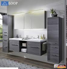 marlin loop badmöbel set 160 cm mit led spiegelschrank doppelwaschtisch rahmenoptik v3 1