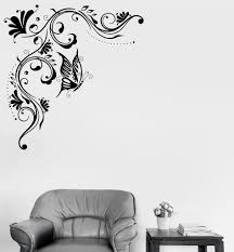Wall Mural Decals Flowers by Wall Vinyl Decal Floral Pattern Art Mural Butterfly Flowers