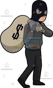 A Robber Taking A Big Sack Money