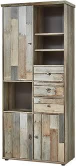 bonanza vintage wohnzimmerschrank in driftwood optik retro schrank mit viel stauraum für ihr wohnzimmer 83 x 188 x 39 cm b h t