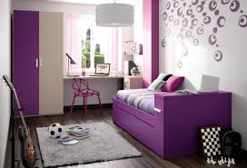 Tiny Bedroom Makeover Ideas For Teenage Girl With Purple Painted Wooden Daybed And Tall Wardrobe Connected