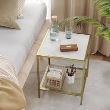 vasagle beistelltisch couchtisch mit 2 ebenen aus hartglas stabil mit metallgestell gitterablage für wohnzimmer schlafzimmer gold marmoroptik