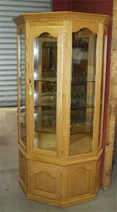 amish solid oak curio 4 glass shelves can light clayborne s of sc