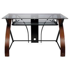 bello curved glass top computer desk vibrant espresso hayneedle