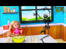 Play Barbie Doll Kitchen Toys Chelsea Baby Doll SOUP Or Skeleton