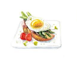 Watercolor food illustration breakfast by Polina Khoronko via Behance