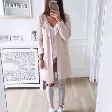 Cardigan grey pink ripped jeans light pink shirt pink coat