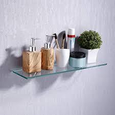 brand umi glasregal duschablage badregal wandregal badezimmer regal 8mm dusche glas ablage badablage mit 2 regalträger 50cm chrom poliert