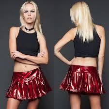lip service 24hrs vinyl pleated zip mini skirt red