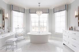 Modern Chandelier Over Bathtub by Bathroom Bay Windows Design Ideas