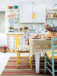 Colorful Vintage Kitchen With Small Dining Area