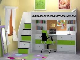 fantastic bunk beds with desk and tidy bookshelves inside stylish