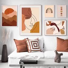 Home Interior Pics Trendy Boho Stil Abstrakte Sonnenaufgang Szene Leinwand Malerei Poster Druck Wand Kunst Bilder Wohnzimmer Home Interior Decor Kein Rahmen