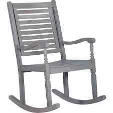 Patio Rocking Chair In Gray Washed Acacia Wood By Walker Edison
