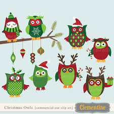 Christmas Owls Clip Art Graphics Buy The Commercial Use License
