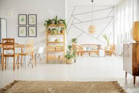 100 Bright Apartment Apartment With Wooden Table Chairs Bookshelf And White