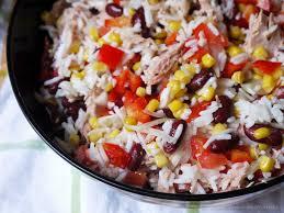 cuisine salade de riz la cuisine de myrtille salade de riz aux haricots rouges et au thon