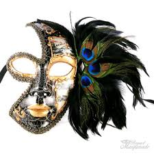 Halloween Half Masks by Amazon Com Venetian Style Half Face Feather On Side With Music
