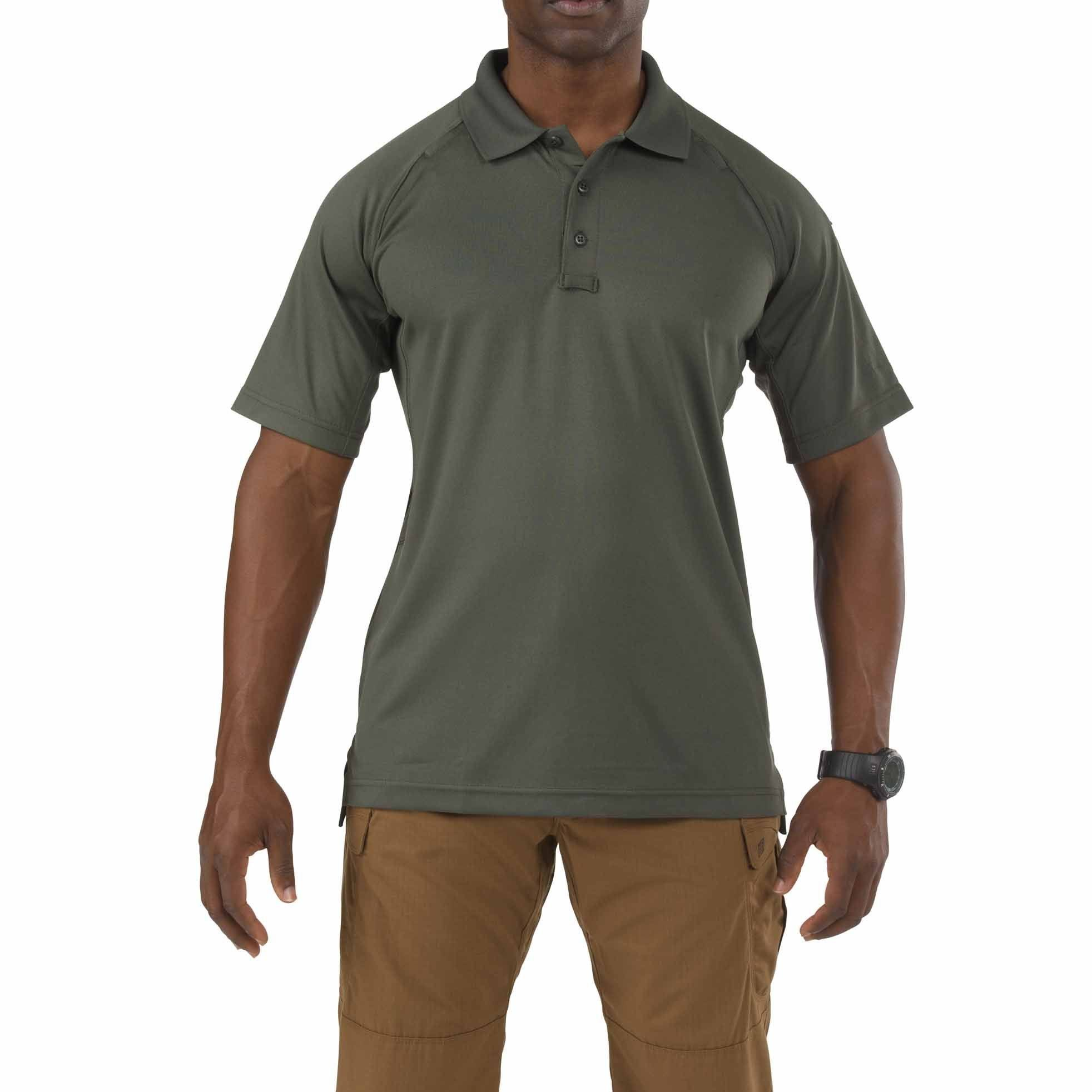 5 11 Men's Performance Tactical Polo Short Sleeve Shirt - Green, Large